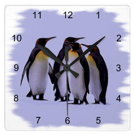 Reloj de pared de cuatro pingüinos