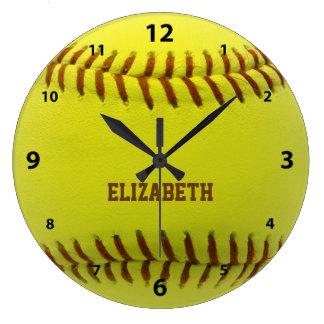 Reloj de pared de encargo de la bola del softball