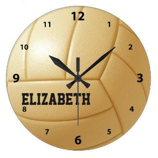 Reloj de pared de encargo de la bola del voleibol