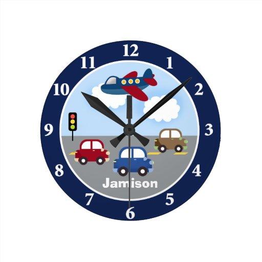 Reloj de pared de encargo del tema del transporte