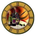 Reloj de pared de encargo del vino y del queso