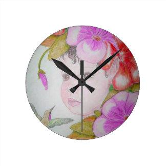 Reloj de pared de hadas del hibisco