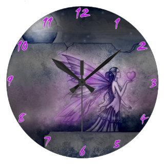 Reloj de pared de hadas púrpura del arte de la fan