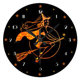 Reloj de pared de Halloween de la bruja de la luz
