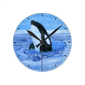 Reloj de pared de la ballena de la orca
