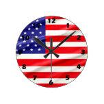 Reloj de pared de la bandera de los E.E.U.U.