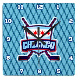 Reloj de pared de la bandera del hockey sobre