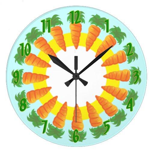 Reloj de pared de la cocina de la zanahoria