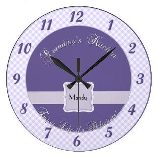 Reloj de pared de la cocina de las abuelas - púrpu