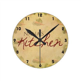 Reloj de pared de la cocina de Nana del papel pint