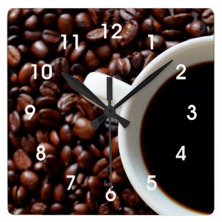 Reloj de pared de la cocina del grano de café