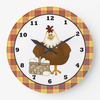 Reloj de pared de la cocina del pollo del dibujo a