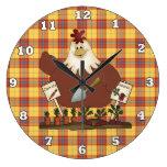 Reloj de pared de la cocina del pollo del país