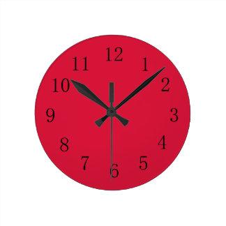 Reloj de pared de la cocina del rojo carmesí