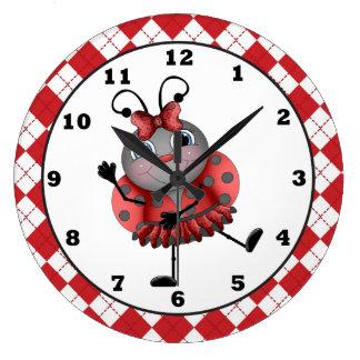 Reloj de pared de la diversión de la mariquita del