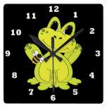 Reloj de pared de la diversión de la rana del