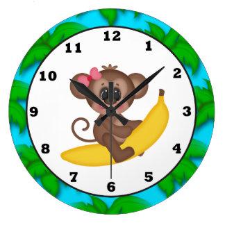 Reloj de pared de la diversión del mono del dibujo