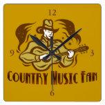 Reloj de pared de la fan de música country