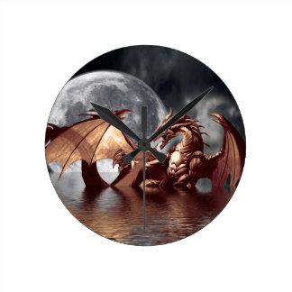 Reloj de pared de la fantasía del dragón y de la l