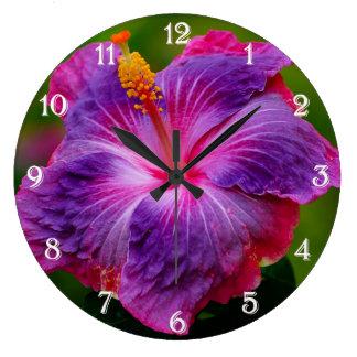 Reloj de pared de la flor del hibisco