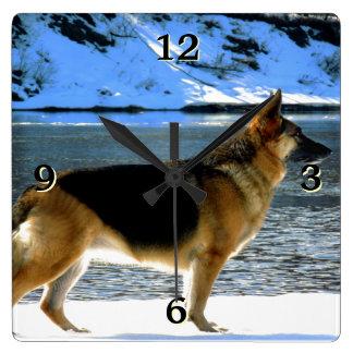 Reloj de pared de la foto del pastor alemán