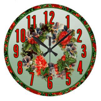 Reloj de pared de la guirnalda del navidad