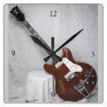 Reloj de pared de la guitarra del vintage