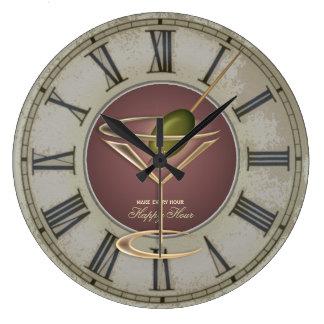 Reloj de pared de la hora feliz del vidrio de cóct