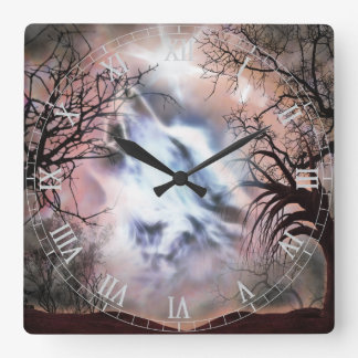 Reloj de pared de la ilustración del lobo del grit