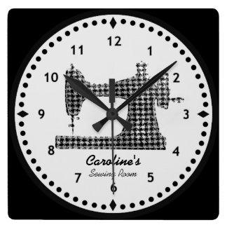 Reloj de pared de la máquina de coser del control