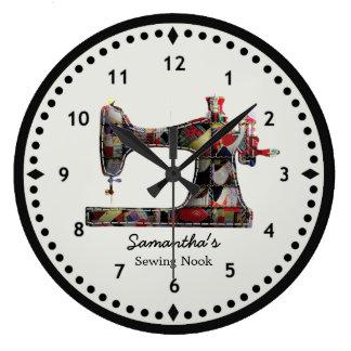 Reloj de pared de la máquina de coser del edredón