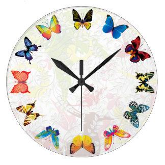 Reloj de pared de la mariposa