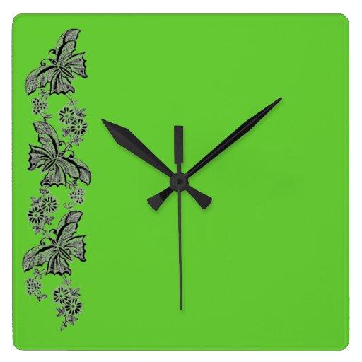 Reloj de pared de la mariposa de las mariposas del