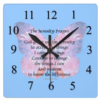 Reloj de pared de la mariposa del rezo de la seren