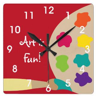 Reloj de pared de la paleta de la pintura del arte