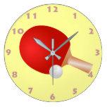 Reloj de pared de la PALETA Y de la BOLA del PING-