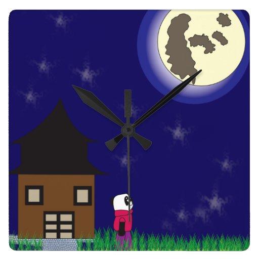 Reloj de pared de la panda de las buenas noches