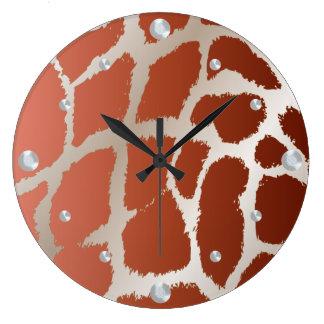 Reloj de pared de la piel de la jirafa
