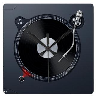 Reloj de pared de la placa giratoria de DJ