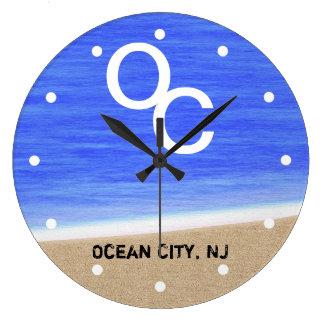 Reloj de pared de la playa de la ciudad NJ del océ