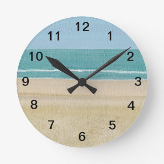 Reloj de pared de la playa de las ondas de cielo