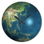 Reloj de pared de la tierra del planeta