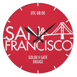 Reloj de pared de la tipografía de la zona horaria