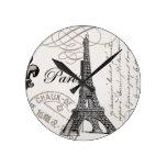 Reloj de pared de la torre Eiffel del vintage…