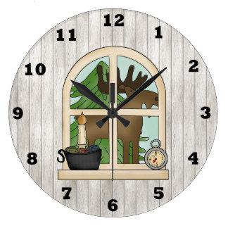 Reloj de pared de la ventana de los alces del país
