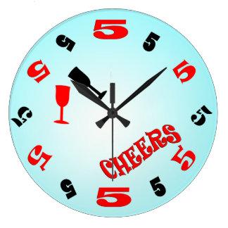 Reloj de pared de las alegrías de 5 en punto (azul