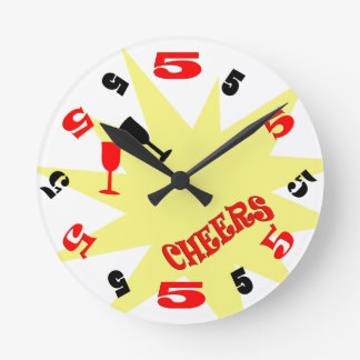 Reloj de pared de las alegrías de 5 en punto (blan