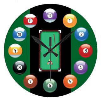 Reloj de pared de las bolas de billar