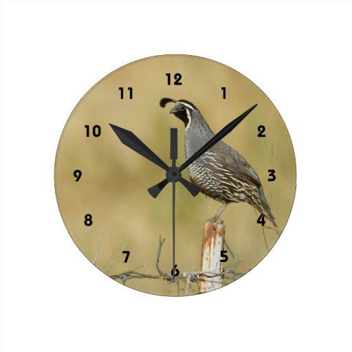 Reloj de pared de las codornices