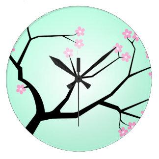 Reloj de pared de las flores de cerezo